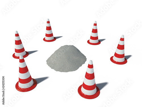 traffic cones with heap