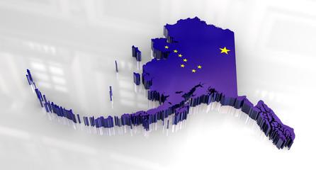 3d Flag map og Alaska