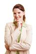 Lachende Frau beim Bewerbungsgespräch
