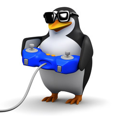3d Penguin plays a videogame