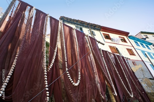 Fishing nets in fishing town of Cudillero, Asturias, Spain