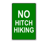 "Etiqueta con texto ""NO HITCH HIKING"""