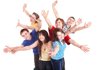 Group of happy young people.