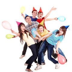 Group of teenage in party hat and baloon.