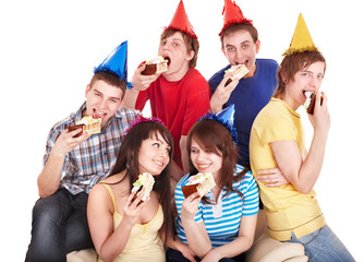 Group people eat cake.
