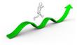 Personnage 3d courant vers le succès symbole positif