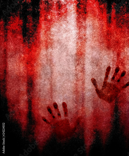 bloody hand print on wall - 24224512