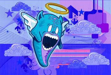 Criatura angelical con elementos sobre fondo azul