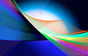 Fondo abstracto con lineas mezcladas en tonos azules