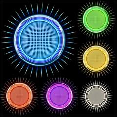 Emblema con diseño circular brillante y con textura