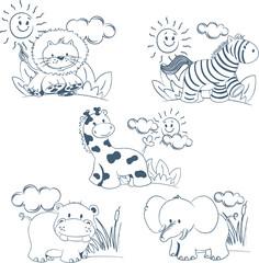 Mascotas de animales de la jungla a lineas