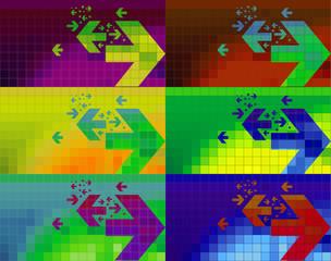 Fondo pixelado con flechas bi direccionales en varios colores