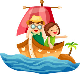 Two kids sailing in the sea