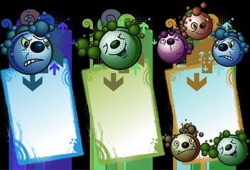 Set de banners de criaturas con algunas expresiones