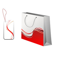 Shopping bag and a tag with model. Vector illustration.