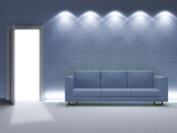 minimal blu living room poster