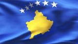 Creased KOSOVO satin flag in wind with seams and wrinkle poster
