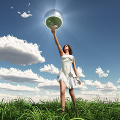 woman holding mirror sphere