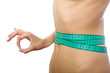 tape measure on waist and simbol okey isolated