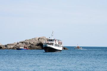Tourist boat at sea