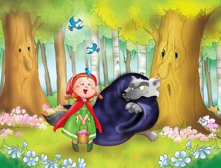 Cappuccetto Rosso e il lupo cattivo nel bosco