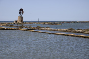 Old windmill and salt marshes