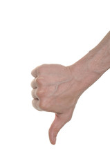 man's hand showing thumb down isolated on white background