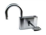 Opened silver lock