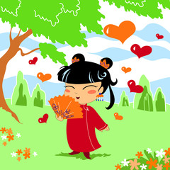 Bambina cinese innamorata