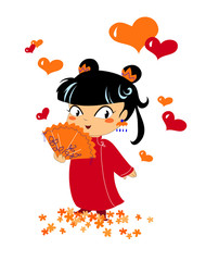 Bambina cinese innamorata su sfondo bianco