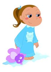 Bambina in pigiama con pelouche