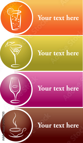 different drink logos with place for your text