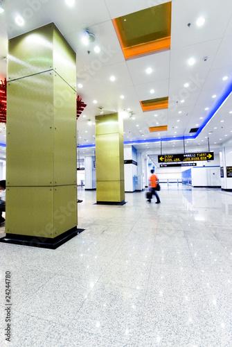 Leinwanddruck Bild Passenger in the subway station in Shanghai