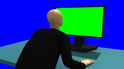 3d-man sitting in front of a green screen
