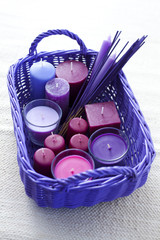 basket with candles