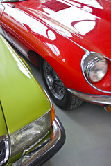Red and green vintage cars