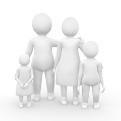 Family of four members 3d