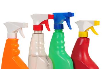 Spray bottles. Isolated