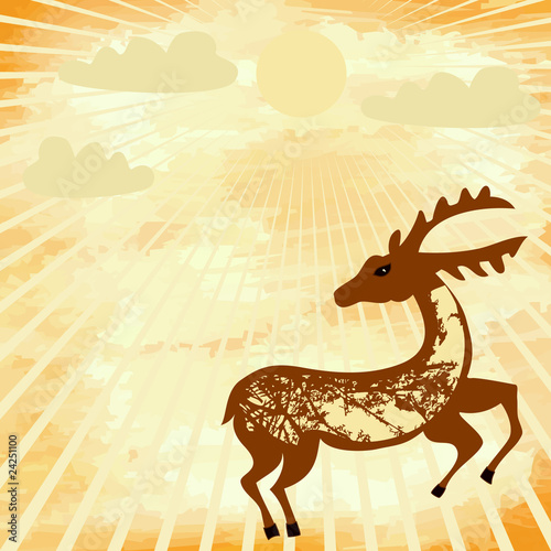 grunge background with a deer