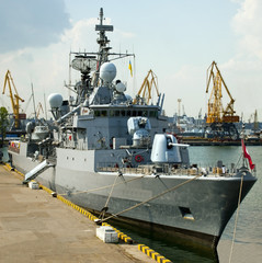 Military ship in the port