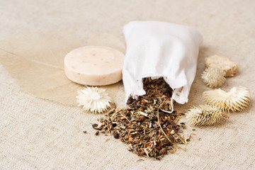 Spa herbs and soap, natural and rustic style