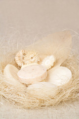 Different kinds of soaps, natural and rustic style