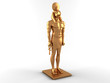 3D Gold Egyptian god Horus on white background