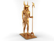 3D Gold Egyptian god Anubis on white background