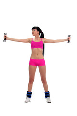 Girl with a dumbbell