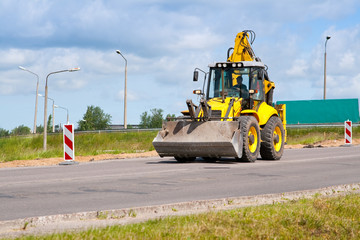 Bulldozer on a road.