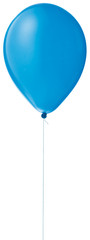 blue helium ballon on a string on a white background