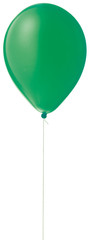 green helium ballon on a string on a white background