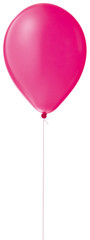single pink helium balloon on a string