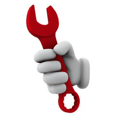 3d hand holding red tool